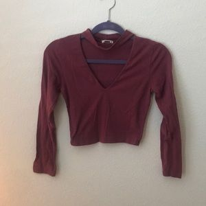 Long sleeve blush purple crop top